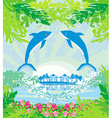 Tropical island paradise with leaping dolphins vector