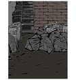 Back street alley scene vector