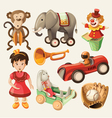Set of colorful vintage toys for kids vector