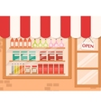 Store and market background with shelf vector