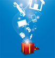 Many gifts floating from gift box vector