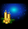 Blue christmas background with golden candle vector