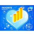 Bright heart and bar chart on blue backgroun vector