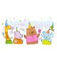 Birthday banner with animals vector