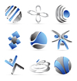 Blue business icons design vector