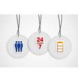 Hanging online support badges vector