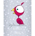 Bird sitting on branch winter background with vector