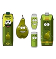 Green pear fruit and juices vector