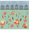 Cartoon concept fishing finances business risks vector
