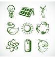 Green energy sketch icons vector