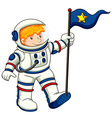 An astronaut holding a flag vector