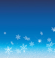 White snowflakes fly on a blue background vector