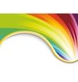 Rainbow card with golden ribbon vector