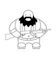 Fat redneck with shotgun line-art vector
