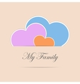 Three paper style hearts as family symbol vector