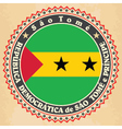 Vintage label cards of sao tome and principe flag vector