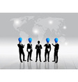 Business people silhouette and bulb head man vector