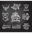 Jewelry chalkboard emblems vector