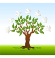 Birds over a tree background vector