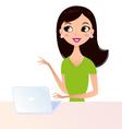 Cute secretary woman using laptop vector