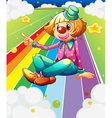 A female clown sitting at the colorful road vector