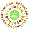 Round pattern of fruits and berries with leaves vector