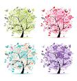 Floral trees vector