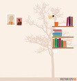 Bookshelf and tree wallpaper vector