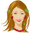 Summer beautiful woman portrait vector