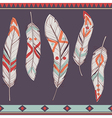 Colorful set of ethnic decorative feathers vector