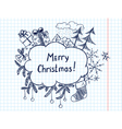 Cute doodle christmas frame sketch vector