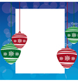 Christmas balls with space advertising over blue b vector