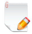 Note and pencil vector