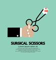 Surgical scissors in hand vector