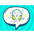 Speech bubble with icon of headphones on vector