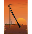 Electric power lines at sunset vector