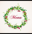 Vintage cherry plant wreath menu background vector