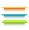 Three colorful realistic shelves vector