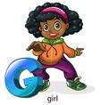 A letter g for girl vector