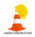 Traffic cone and building helmet vector