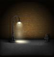 Vintage streetlamp on brick wall background vector