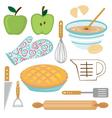 Apple pie preparation vector