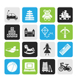 Silhouette different kind of toys icons vector