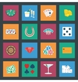 Casino flat icons set vector