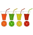 Set of doodle glasses of citrus juice vector