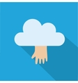 Cloud icon with hand isolated on blue background vector