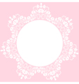 Lace round frame on pink background vector