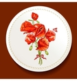 Beautiful bouquet of red poppy on a white plate vector