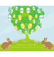 Easter card with rabbits and tree vector