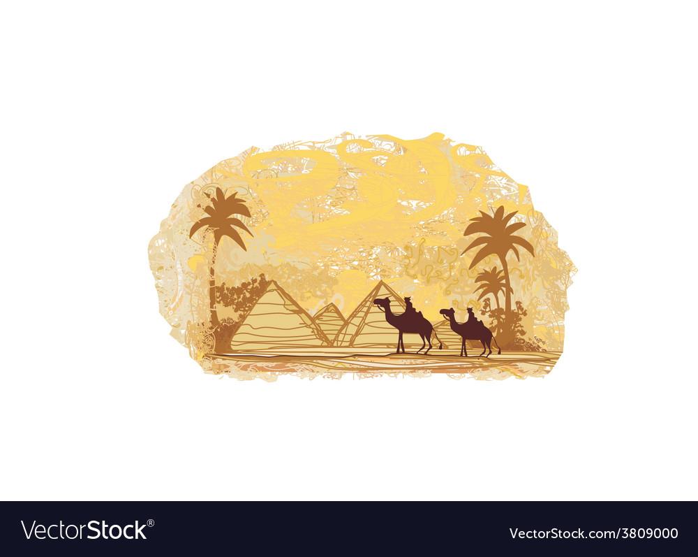Bedouin camel caravan in wild africa landscape vector | Price: 1 Credit (USD $1)